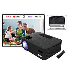 "NAXA Indoor LCD Projector with 100"" Screen and Carrying Case"