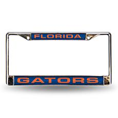 NCAA Blue Laser-Cut Chrome License Plate Frame - Florida