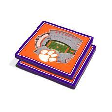 NCAA Clemson Tigers 3-D Stadium Views Coaster Set