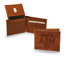 NCAA Embossed Leather Billfold Wallet - Texas A&M
