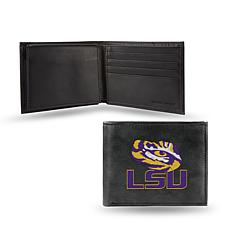 NCAA Embroidered Leather Billfold Wallet - LSU