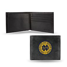 NCAA Embroidered Leather Billfold Wallet - Notre Dame