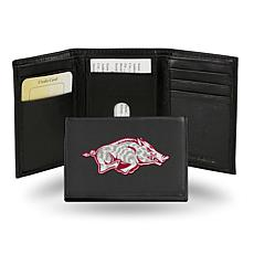 NCAA Embroidered Leather Trifold Wallet - Arkansas