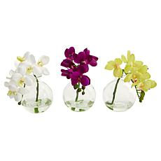 "Nearly Natural 10"" Phalaenopsis Pot Set of 3"