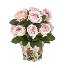 """Nearly Natural 11"""" Rose Artificial Arrangement in Floral Vase"""