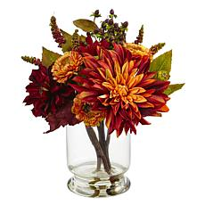 "Nearly Natural 12"" Dahlia and Mum with Vase"