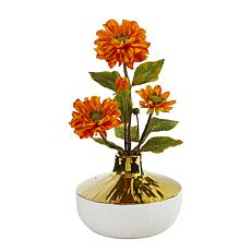 """Nearly Natural 15"""" Artificial Zinnia Arrangement in Vase"""