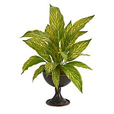 """Nearly Natural 17"""" Musa Leaf Artificial Plant in Metal Chalice"""