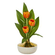 "Nearly Natural 18"" Tulip Artificial Arrangement in an Elegant Vase"