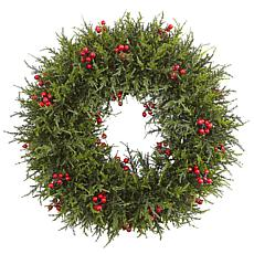 "Nearly Natural 20"" Cedar Berry Wreath"