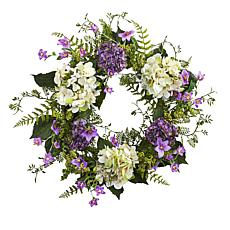 "Nearly Natural 24"" Hydrangea Berry Wreath"