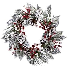 "Nearly Natural 24"" Snowy Magnolia Berry Artificial Wreath"