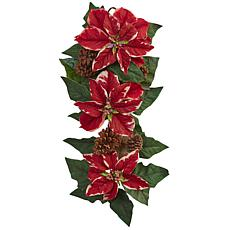"Nearly Natural 25"" Poinsettia, Pine Cone & Burlap Teardrop"
