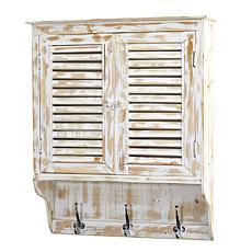 "Nearly Natural 32"" White Washed Wall Cabinet with Hooks"