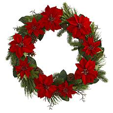 "Nearly Natural 36"" Poinsettia & Pine Wreath"