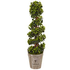 Nearly Natural 4 ft. UV Resistant English Ivy Tree in Planter