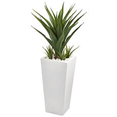 "Nearly Natural 40"" Spiky Agave Artificial Plant in White Planter"