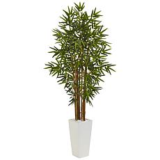 Nearly Natural 5 ft. Bamboo Tree in White Tower Planter
