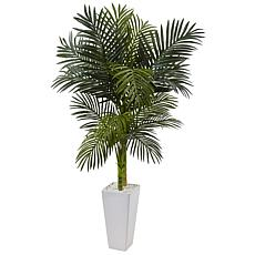 Nearly Natural 5 ft. Golden Cane Palm Tree in White Tower Planter