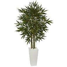 Nearly Natural 6 ft. Bamboo Tree in White Tower Planter
