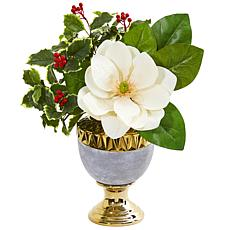 Nearly Natural Magnolia & Holly Leaf Artificial Arrangement in Urn