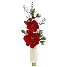 Nearly Natural Magnolia & Pine Artificial Arrangement in White Vase