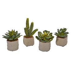 Nearly Natural Mixed Succulent Artificial Plant Set of 4