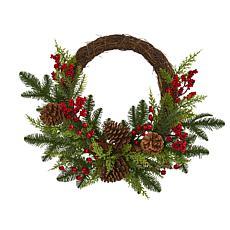 Nearly Natural Pine & Cedar w/Berries & Pine Cones Artificial Wreath