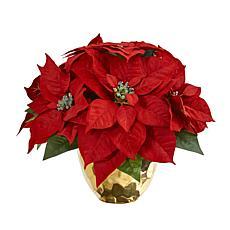 Nearly Natural Poinsettia Artificial Arrangement in Golden Vase