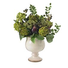 Nearly Natural Silk Artichoke and Hydrangea Arrangement