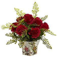 Nearly Natural Silk Rose-Bush Flower Arrangement