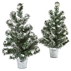 Nearly Natural Snowy Pine Tree with Tin Set of 2