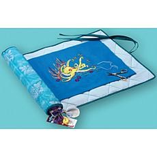 Needlework Keeper - Turquoise with White Floral Print