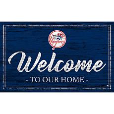 """New York Yankees Team Color Welcome Sign - 11x19"""""""