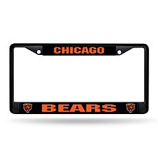 NFL Black Laser-Cut Chrome License Plate Frame -  Bears