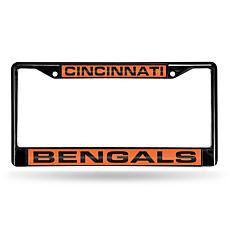 NFL Black Laser-Cut Chrome License Plate Frame -Bengals