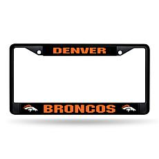 NFL Black Laser-Cut Chrome License Plate Frame -  Broncos