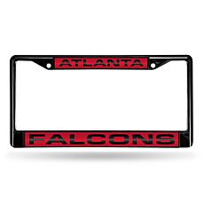NFL Black Laser-Cut Chrome License Plate Frame -Falcons