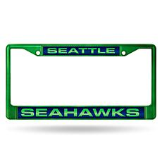 NFL Colored Laser-Cut Chrome License Plate Frame - Seahawks
