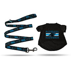 NFL Large Pet T-Shirt with 6' Leash - Panthers