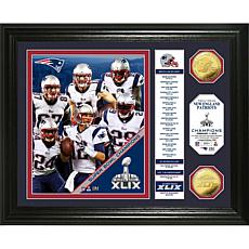 NFL Patriots SB XLIX Champs Banner Gold Coin Photo Mint