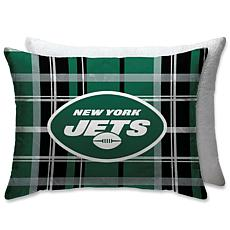 """NFL Plush Plaid Sherpa 20"""" x 26"""" Bed Pillow - New York Jets"""