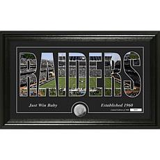 NFL Silhouette Panoramic Bronze Coin Photo Mint - Oakland Raiders