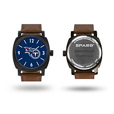 "NFL Sparo ""Knight"" Faux Leather Strap Personalized Watch - Titans"
