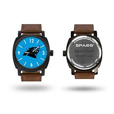 """NFL Sparo """"Knight"""" Faux Leather Strap Personalized Watch - Panthers"""