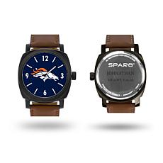 "NFL Sparo ""Knight"" Faux Leather Strap Personalized Watch - Broncos"
