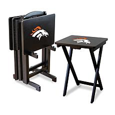 NFL Team Logo Set of 4 TV Trays with Stand - Broncos