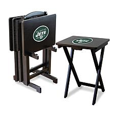 NFL Team Logo Set of 4 TV Trays with Stand - Jets