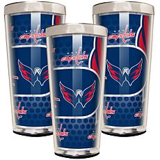 NHL Acrylic & Stainless Steel 3-piece Shot Glass Set - Capitals