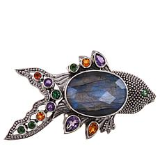 "Nicky Butler 16.60ctw Labradorite and Multigemstone ""Fish"" Brooch"